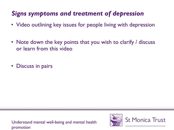 Signs symptoms and treatment of depression