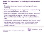 video the importance of housing on mental well being