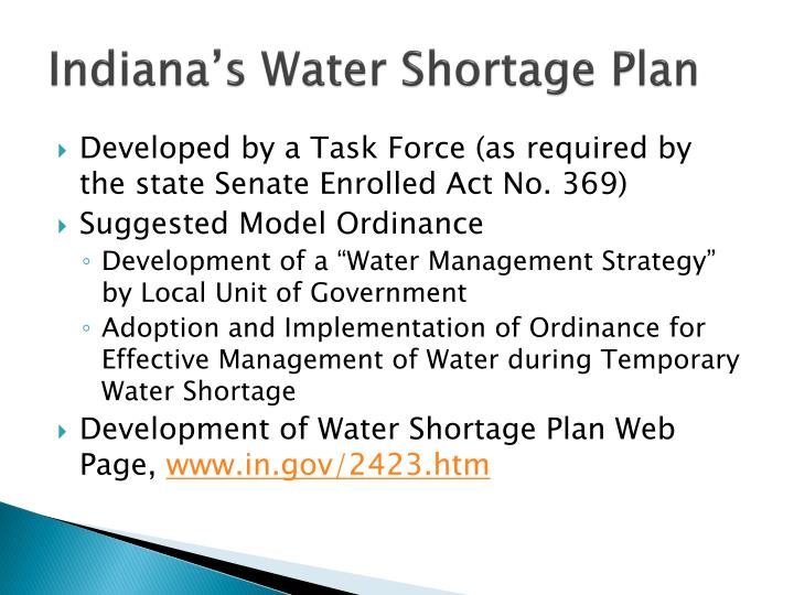Indiana's Water Shortage Plan