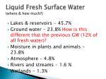 liquid fresh surface water where how much