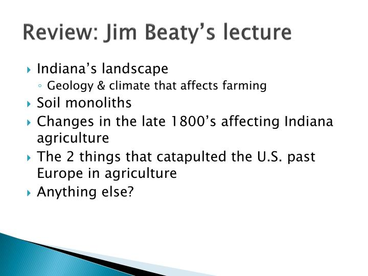Review jim beaty s lecture