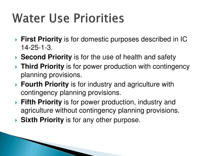 Water Use Priorities