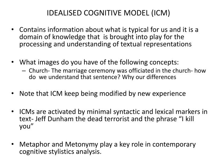 IDEALISED COGNITIVE MODEL (ICM)