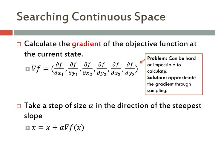 Searching Continuous Space