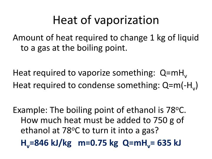 Heat of vaporization