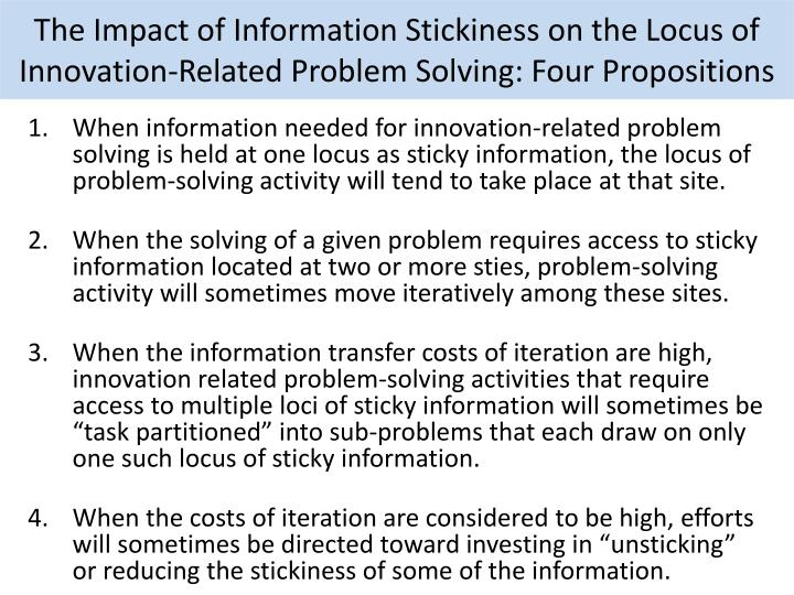 The Impact of Information Stickiness on the Locus of Innovation-Related Problem Solving: Four Propositions