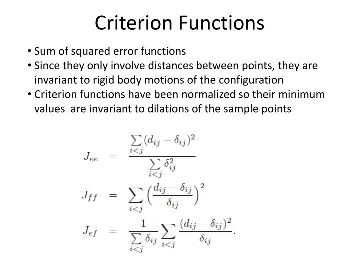 Criterion functions