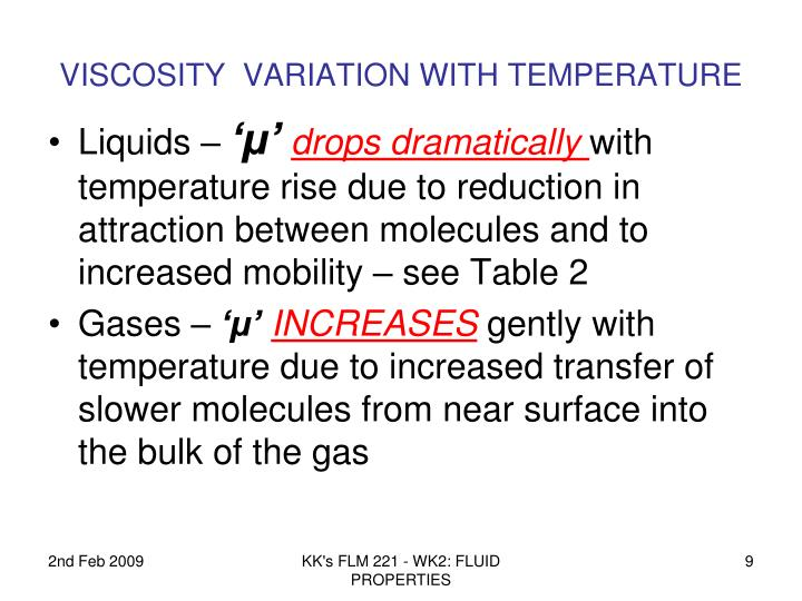 VISCOSITY  VARIATION WITH TEMPERATURE