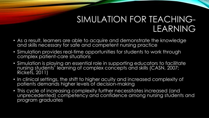 Simulation for teaching-learning