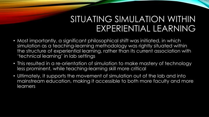 Situating simulation within experiential learning