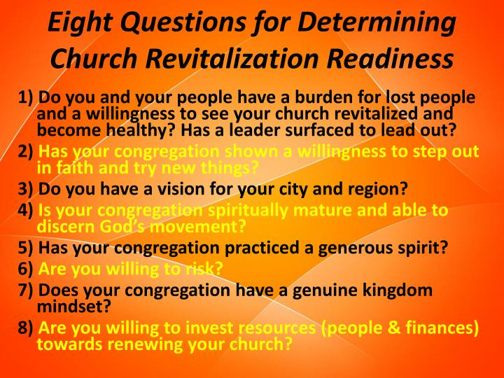 Eight Questions for Determining Church Revitalization Readiness