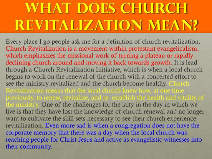 What does church revitalization mean