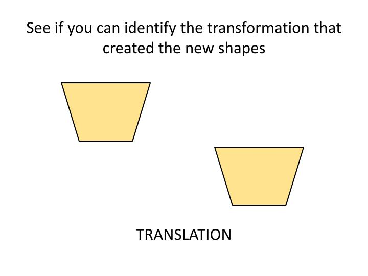 See if you can identify the transformation that created the new shapes