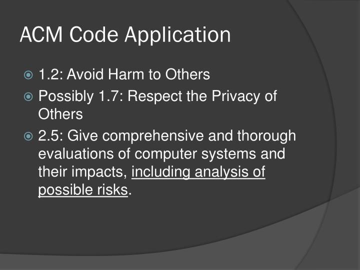 ACM Code Application