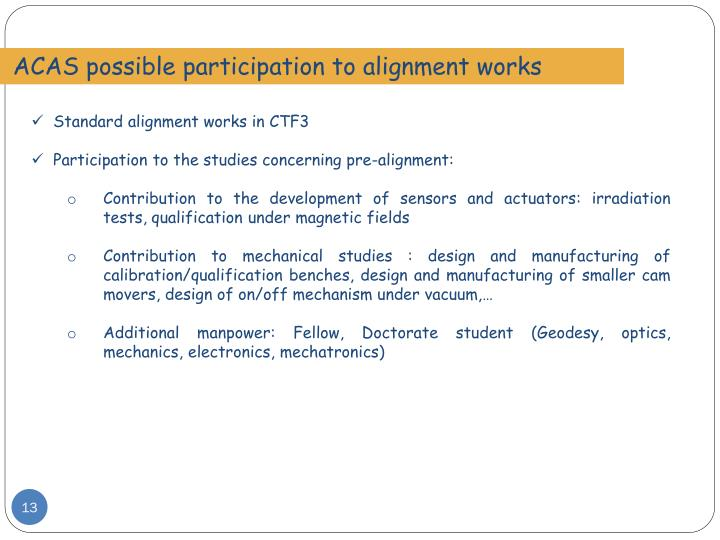 ACAS possible participation to alignment works
