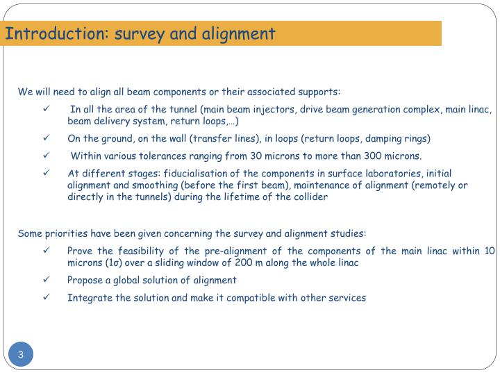 Introduction: survey and alignment