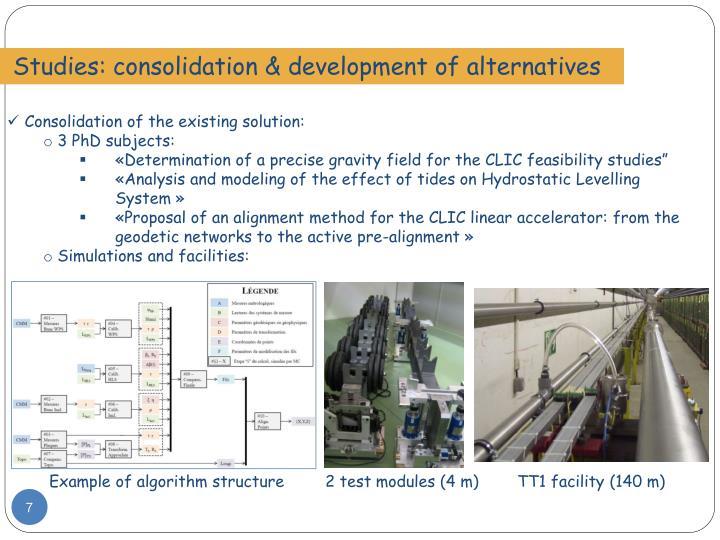 Studies: consolidation & development of alternatives