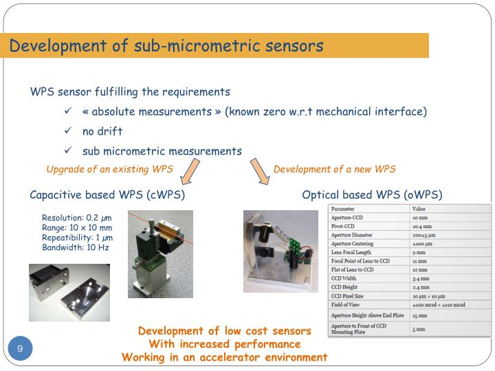 Development of sub-micrometric