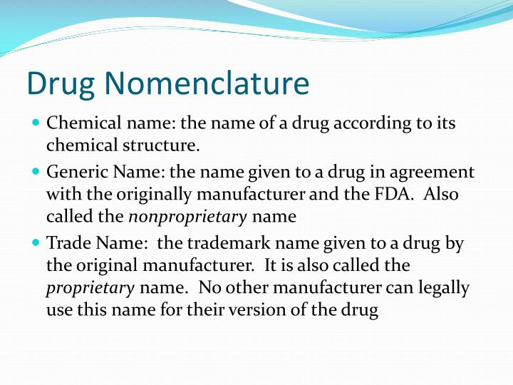 Drug Nomenclature