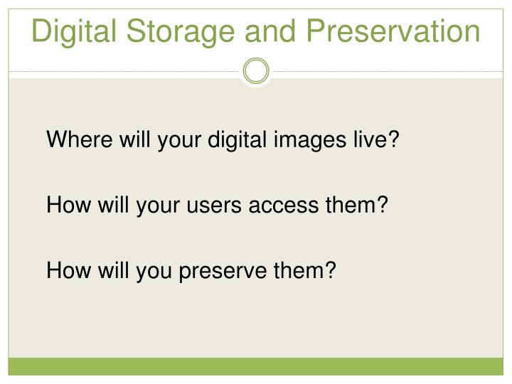 Digital Storage and Preservation