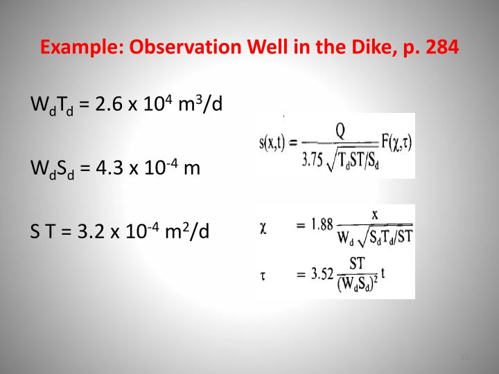 Example: Observation Well in the Dike, p.