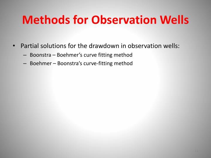 Methods for Observation Wells