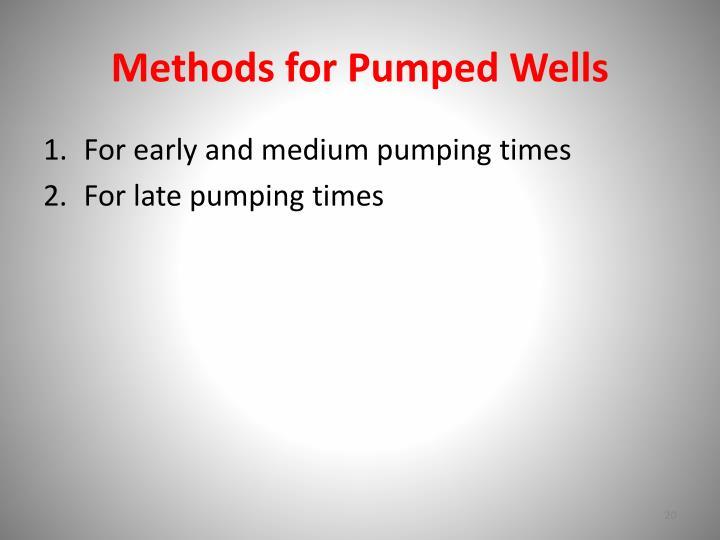 Methods for Pumped Wells