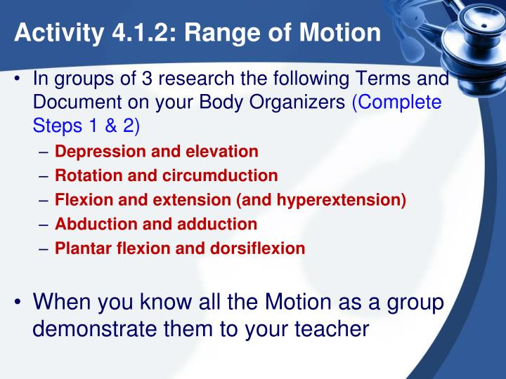 Activity 4.1.2: Range of Motion