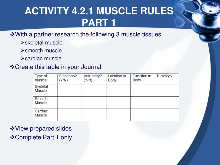 With a partner research the following 3 muscle tissues