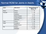 n ormal rom for joints in adults