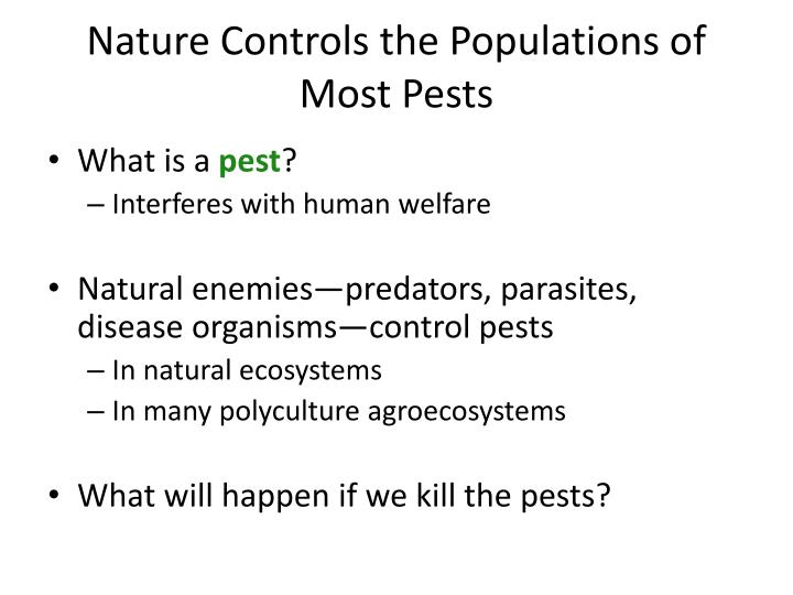 Nature controls the populations of most pests