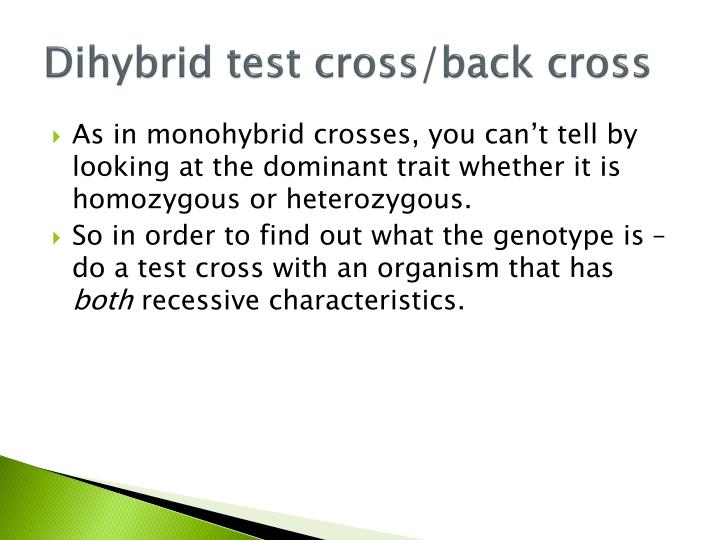 Dihybrid test cross back cross1