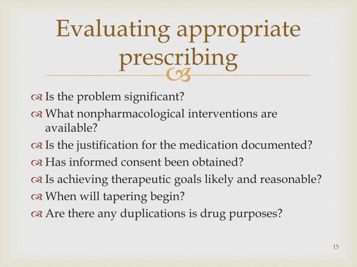 Evaluating appropriate prescribing