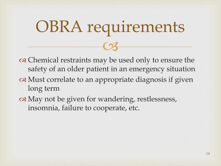 OBRA requirements