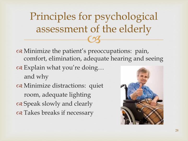 Principles for psychological assessment of the elderly
