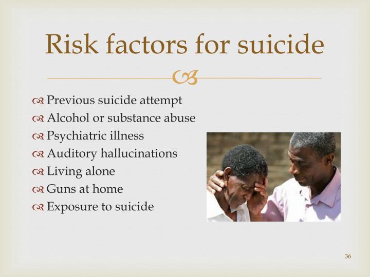 Risk factors for suicide