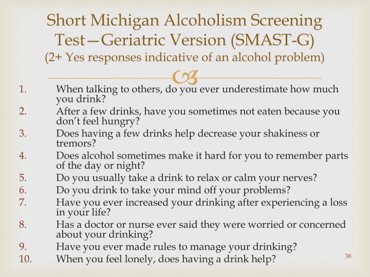 Short Michigan Alcoholism Screening Test—Geriatric Version (SMAST-G)