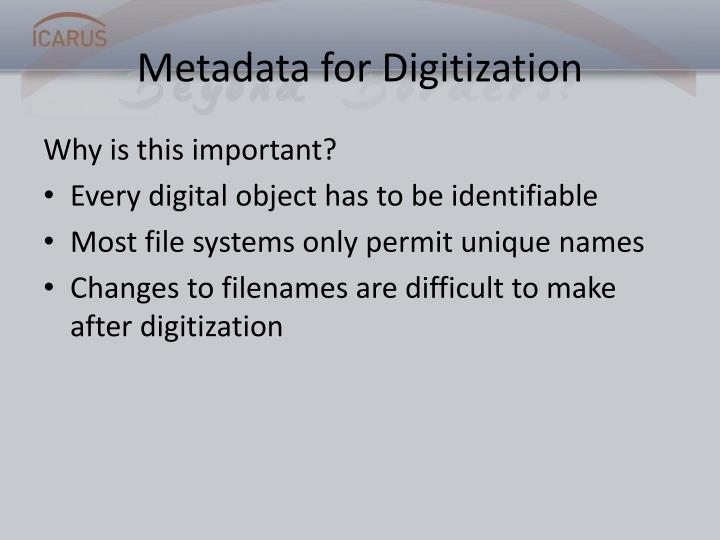 Metadata for Digitization