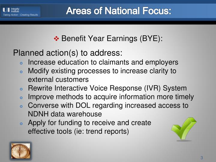 Areas of national focus1