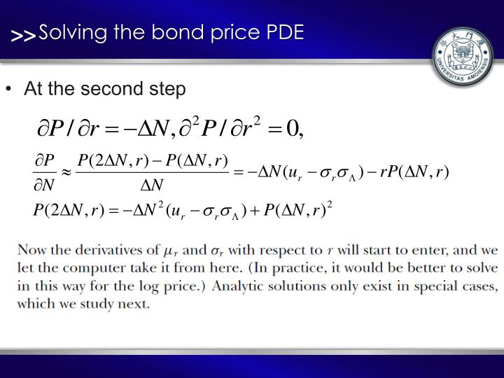 Solving the bond price