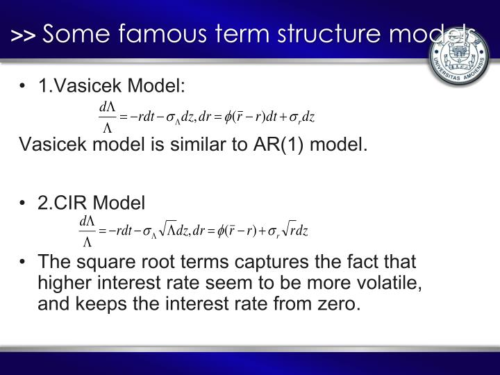 Some famous term structure models