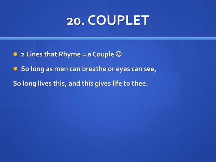 20. COUPLET