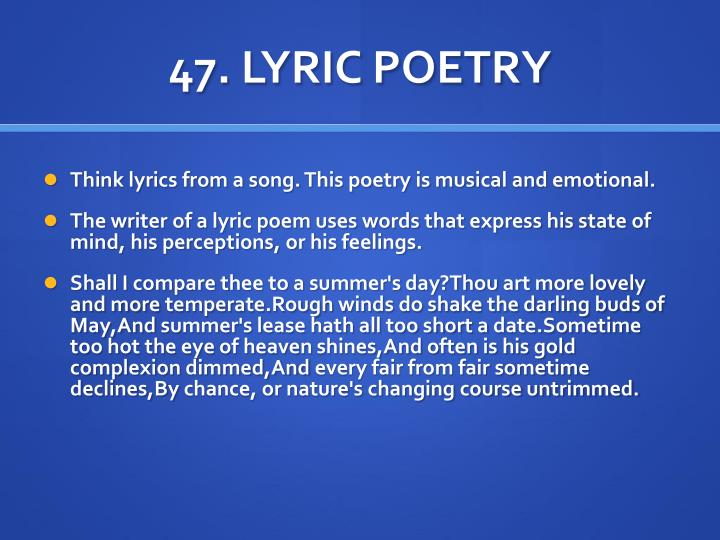 47. LYRIC POETRY