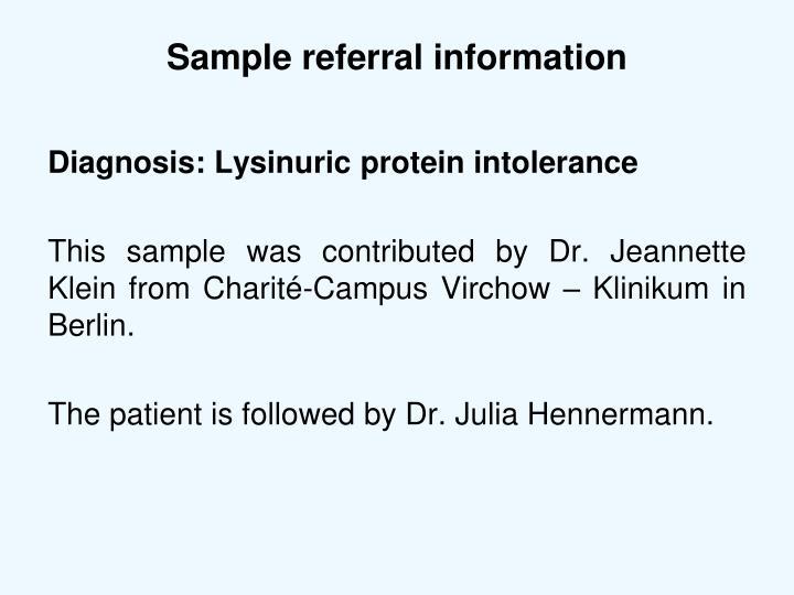 Sample referral information