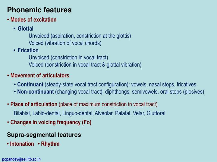 Phonemic features