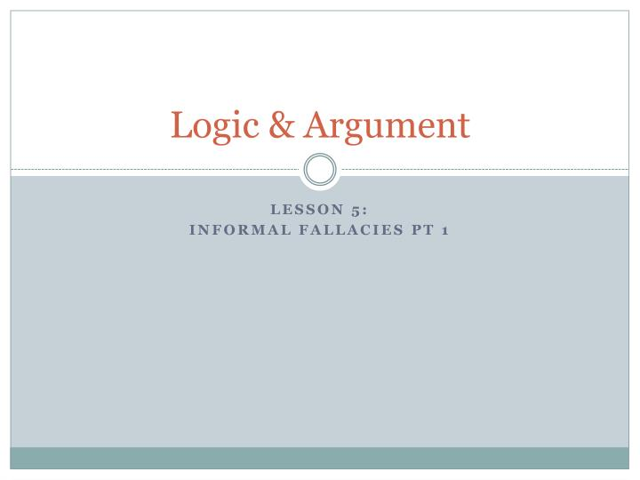 logic of argument