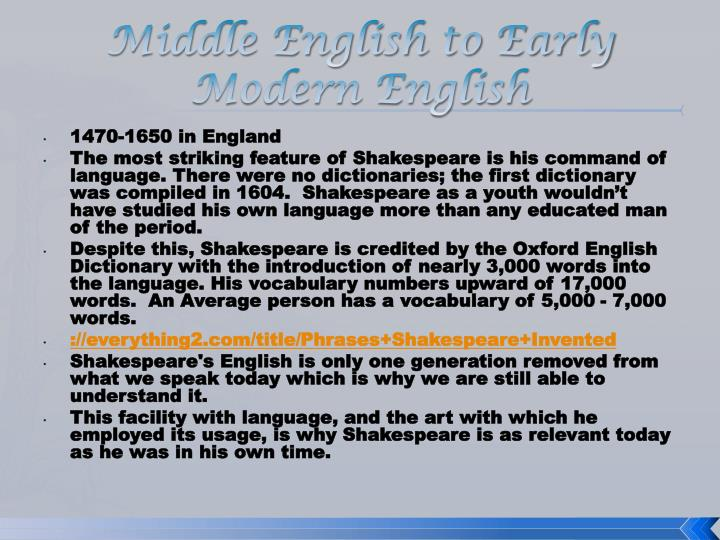 Middle English to Early Modern English