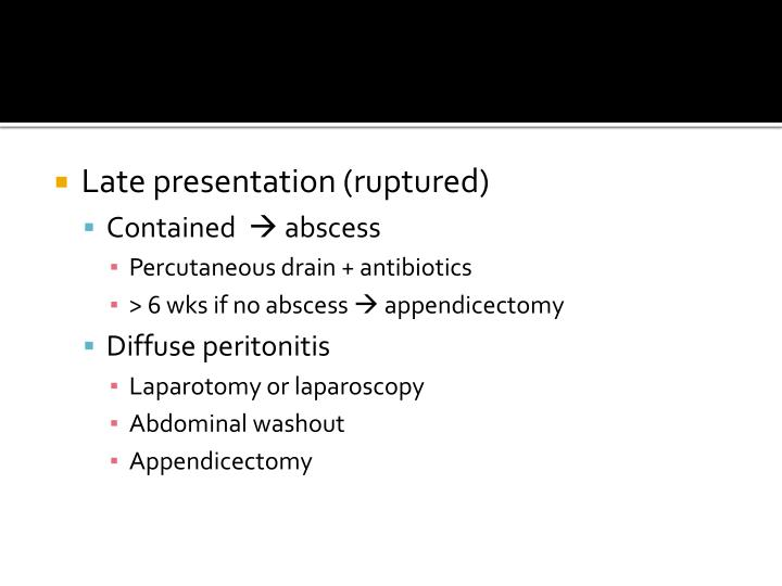 Late presentation (ruptured)