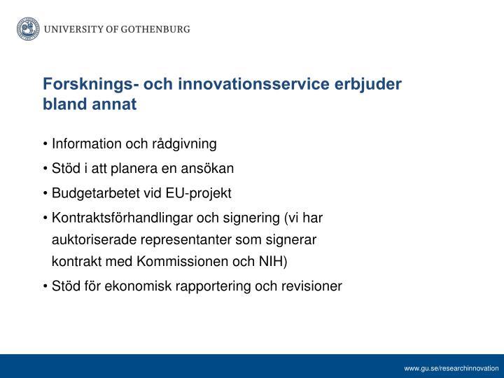 Forsknings- och innovationsservice erbjuder