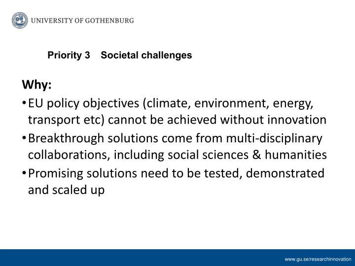 Priority 3Societal challenges